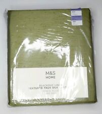 "M&S FAUX SILK CURTAINS BLACKOUT PENCIL PLEAT SAGE GREEN NEW 218X137CM 86X54"""