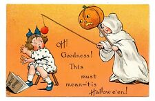 HALLOWEEN EMB PC, BOY WITH JOL DRESSED AS GHOST SCARES GIRL,TUCK PUB used 1912