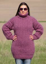 MOHAIR Hand Knitted ROSE Sweater Turtleneck Ribbed Pullover Jumper Fluffy Soft