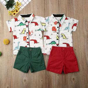 Toddler Baby Boys Summer Outfits Clothes Sets Dinosaur T-Shirt Tops+Shorts Pants