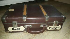 alter Koffer Vintage Reisekoffer Hartpappe Pappkoffer mit Holzleisten braun