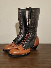 EXCELLLENT! Womens Olathe Packer Lace Up Boots Sz 7B Made In Olathe KS