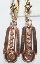 Hand Made Pearl Dangle Earrings 1900 Antique French Victorian 18K Gold Beautiful