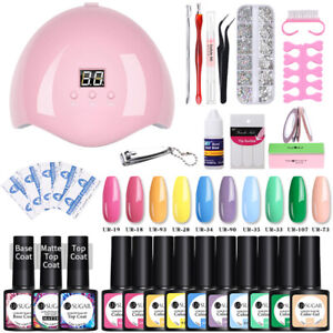 UR SUGAR Nail UV Gel Set 13 pcs Gel Polish Top Base Matte Coat LED Lamp Tools