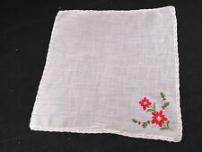 VINTAGE WHITE WITH RED POINSETTIAS & GREEN HOLLY CHRISTMAS HANKIE/HANDKERCHIEF