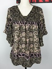 Anthropologie Sunner Floral Print Silk Kimono Wing Blouse Tunic Top Loose Fit XS