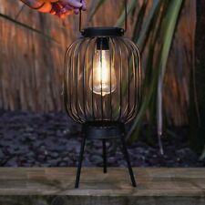 More details for solar power outdoor black filament style led light up hanging lantern   garden