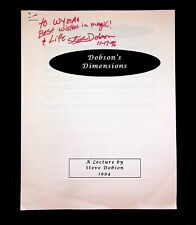 Dobson'S Dimensions Steve Dobson Magic Magician 1994 Lecture Notes Signed
