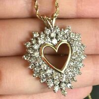 1CT Round Cut Diamond Open Cluster Heart Pendant Necklace 14K Yellow Gold Finish