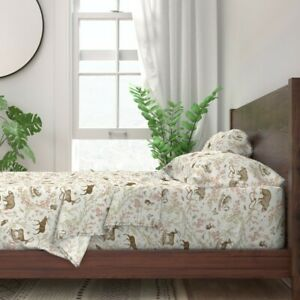 Woodland Rustic Wildlife Toile Moose 100% Cotton Sateen Sheet Set by Roostery