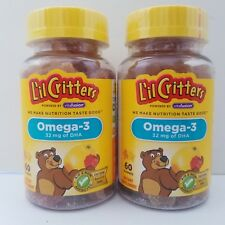 NEW L'il Critters Omega-3 DHA, 60 Count Pack of 2 (120 Gummes Total) Sealed