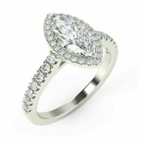 Special Offer.! 1.50ct Marquise Diamond Halo Engagement Ring,Hallmark White Gold