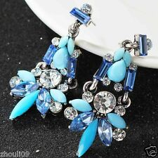 long Ear Studs earrings hot e541 gorgeou Design Lady Bib Statement clear crystal