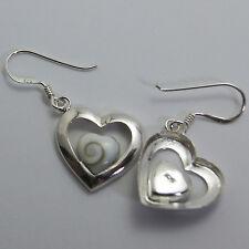 Heart Thai Shiva Eye Earrings Sterling Silver