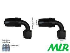 MLR un -10 JIC 90 ° grados Negro Filtro Remoto Enfriador De Aceite Manguera De Tubería Accesorios Par