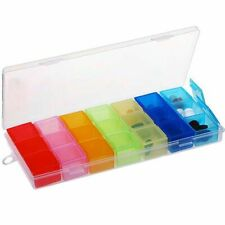 Weekly Medicine Storage Box Pill Case Compartment Lid Tablet Capsules Organizer
