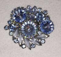 "Brooch Pin Juliana Blue Heliotrope Aurora Borealis Rhinestones Glass Vintage 2"""