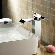 NEW Polished Chrome Brass Waterfall Bathroom Basin Faucet Square Style Mixer Tap