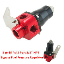 Universal Aluminum Bypass Fuel Pressure Regulator 3 to 65 PSI 3 Port 3/8'' NPT