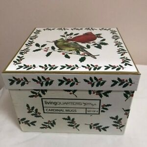 New in Box Set 4 Christmas Cardinal Birds Holly Coffee Mugs