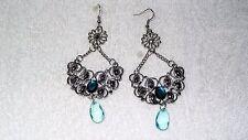 Flower Blue Stone Chandelier Dangle Exotic Pair of Earrings Jewelry Fashion