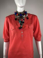 Angie Womens Size Small Orange Top Blouse with Pockets