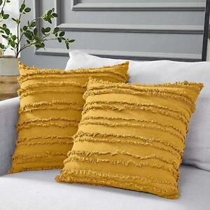 Fringe Stripes Cushion Covers Fringe-adorned Decorative Pillow Cases