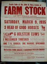 1935 Broadside; Auction of Estate- Livestock, Machinery, Etc.