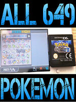 GENUINE POKEMON BLACK 2 WITH ALL 649 SHINY POKEMON ALL ITEMS NINTENDO DS WHITE