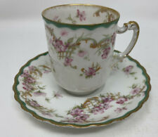 Haviland Limoges Floral Gold Teacup & Saucer
