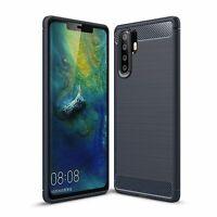 Huawei P30 Pro TPU Phone Case Carbon Fiber Brushed Protective Bumper Blau