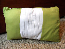 "Decorative Bed Throw Neck Pillow 18""x12"" Lime Sage Green & White Cushioned Firm"