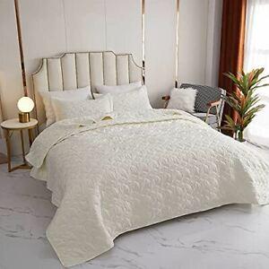 Kindred Home 3 Piece Quilt Set Cloud Pattern Bedspread - Soft Microfiber Lightwe