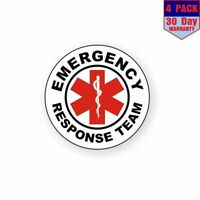 Emergency Response Team Emt Aed Cpr 911 4 pack 4x4 Inch Sticker Decal