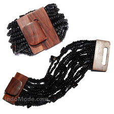 Shiny Black Beaded Bali Bracelet With Hard Wood Buckle Clasp - 14 Elastic Strand