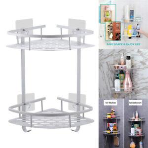 2 Tiers Shower Corner Caddy Organizer Bathroom Storage Holder Rack Shelf Burable