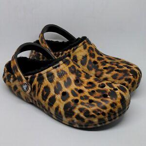 Unisex Crocs Classic Lined Animal Print Clog Leopard Black Size Womens 9 Mens 7