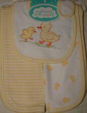 Welcome to the World Unisex Baby Bib Burp Cloths Set-Yellow Ducks- FREE SHIPPING