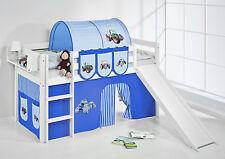 Juego de cama alta JELLE 190x90 blanco con Tobogán lilokids Tractor Azul