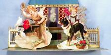 Rare Die Cut Valentine Boy Forging Chain 2 Hearts Girl Dog Fold Out Vintage 1