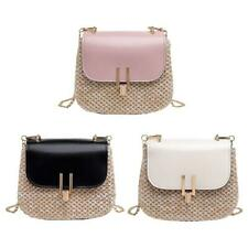 Straw Woven Shoulder Small Messenger Handbags Women Chain Crossbody Bags #8Y