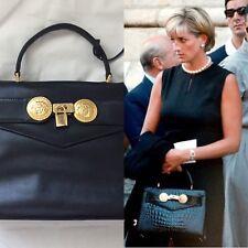 Rare Vtg Gianni Versace Medusa Leather Kelly Princess Diana Bag