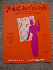 Je Suis Seul ce Soir (I'm So All Alone) Sheet Music (Paul Durand)