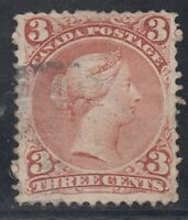"Canada Scott #25 3 cent red  ""Large Queen""  F"