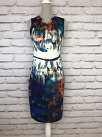 Joseph Ribkoff Blue White Multi Silky Feel Sleeveless Bodycon Belted Dress UK 12