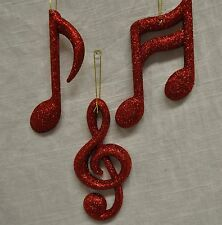 Red Glitter Music Note Ornaments