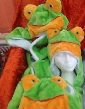 Green Frog animal  Hats X  12 Long 3 In 1 Hat Fleece / Fur New Scarf Mittens