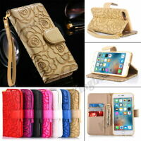 Rose Flower 3D Printed Flip PU Leather Wallet Case Cover For Samsung & iPhone