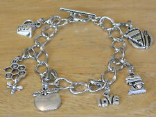 Food/Baker/Baking/Pastry Chef/Cook Silver-Tone Charm Bracelet Pie/Mixer/Apple+