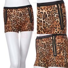 All Over Leopard Print Shorts with Front Double Metal Zipper Trim Cute Comfy